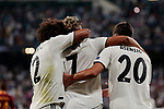 Real Madrid's (L-R) Marcelo Vieira, Mariano Diaz and Marco Asensio celebrate goal during Champions League match. September 19, 2018. (ALTERPHOTOS/A. Perez Meca)