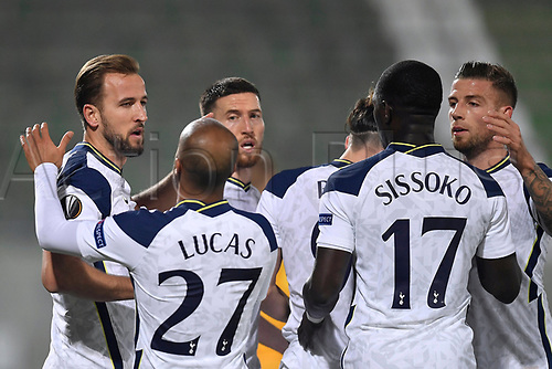 5th November 2020; RAZGRAD, BULGARIA; UEFA Europa League football, group stages;  Ludogorets Razgrad versus Tottenham Hotspur;  Harry Kane and Lucas Moura of Tottenham  celebrate their goal