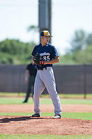 Milwaukee Brewers relief pitcher Lun Zhao (85) gets ready to deliver a pitch during an Instructional League game against the San Diego Padres at Peoria Sports Complex on September 21, 2018 in Peoria, Arizona. (Zachary Lucy/Four Seam Images)