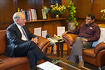 27 October 2015, New Delhi, India : Andrew  Robb, AO, Minister for Trade and Investment meeting with Railways Minister Suresh Prabhu during his visit to India for the Australia India Leadership Dialogue. Picture by Graham Crouch/DFAT