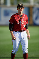 Altoona Curve right fielder Jordan George (24) warms up before a game against the Richmond Flying Squirrels on May 15, 2018 at Peoples Natural Gas Field in Altoona, Pennsylvania.  Altoona defeated Richmond 5-1.  (Mike Janes/Four Seam Images)