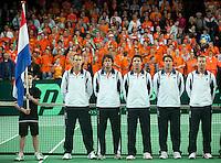 07-05-10, Tennis, Zoetermeer, Daviscup Nederland-Italie, Dutch team at the presentation, l.t.r.: Thiemo de Bakker, Robin Haase, Igor Sijsling, Jesse Huta Galung and captain Jan Siemerink