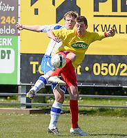 KFC Lichtervelde - KVC Ardooie : Mathias Vackier (r) aan de bal voor Thibault Tanghe (links)<br /> Foto VDB / Bart Vandenbroucke