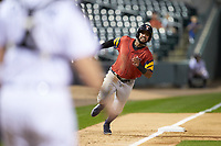 Willi Castro (5) of the Toledo Mud Hens hustles towards home plate against the Charlotte Knights at BB&T BallPark on April 23, 2019 in Charlotte, North Carolina. The Knights defeated the Mud Hens 11-9 in 10 innings. (Brian Westerholt/Four Seam Images)