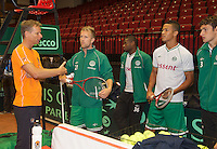 11-sept.-2013,Netherlands, Groningen,  Martini Plaza, Tennis, DavisCup Netherlands-Austria, Practice, Footbal Club FC Groningen is visiting the Dutch Daviscup team, <br /> Photo: Henk Koster