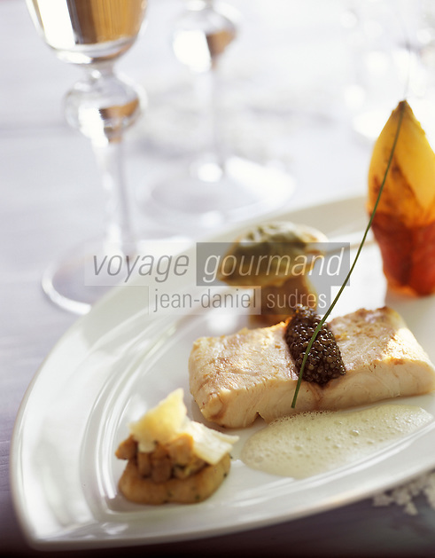 """Europe/France/Rhône-Alpes/73/Savoie/Courchevel 1850: Restaurant """"Le Chabichou"""" - Bar à l'endive mitonnée au jambon de montagne - Recette de M. Rochedy"""