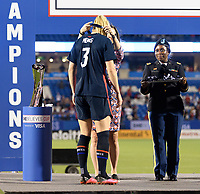 FRISCO, TX - MARCH 11: Samantha Mewis #3 of the United States receives her medal during a game between Japan and USWNT at Toyota Stadium on March 11, 2020 in Frisco, Texas.