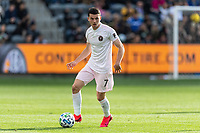 LOS ANGELES, CA - MARCH 01: Lewis Morgan #7 of Inter Miami CF advances the ball in a match against LAFC during a game between Inter Miami CF and Los Angeles FC at Banc of California Stadium on March 01, 2020 in Los Angeles, California.