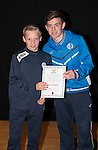 St Johnstone FC Academy Awards Night...06.04.15  Perth Concert Hall<br /> Craig Thomson presents a certificate to Scott Brogan<br /> Picture by Graeme Hart.<br /> Copyright Perthshire Picture Agency<br /> Tel: 01738 623350  Mobile: 07990 594431