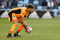 SAINT PAUL, MN - APRIL 24: Dayne St. Clair #97 of Minnesota United FC catches the ball during a game between Real Salt Lake and Minnesota United FC at Allianz Field on April 24, 2021 in Saint Paul, Minnesota.