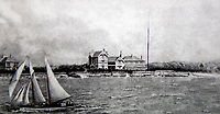 BNPS.co.uk (01202 558833)<br /> Pic: JeremyWaters/BNPS<br /> <br /> A picture of the Haven Hotel which as used in an advertisement in 1906.<br /> <br /> Over 6,200 letters of objection have been lodged against controversial plans to replace a historic hotel with a 'soulless' block of flats at a millionaire's playground.<br /> <br /> The well-heeled residents of Sandbanks are up in arms about the £250million development which would see the Haven Hotel at the entrance to Poole Harbour in Dorset bulldozed.<br /> <br /> The 141-year-old building is where engineer Guglielmo Marconi established the world's first wireless communications. Under the plans, it would be replaced with a six-storey block of 119 luxury apartments.
