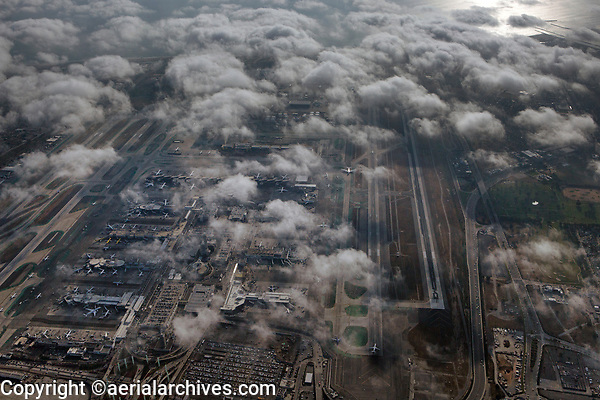 aerial photograph of Los Angeles International airport (LAX), Los Angeles, California as the fog burns off