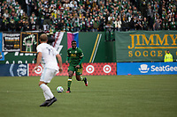 PORTLAND, OR - MARCH 01: Larrys Mabiala #33 of the Portland Timbers dribbles the ball during a game between Minnesota United FC and Portland Timbers at Providence Park on March 01, 2020 in Portland, Oregon.