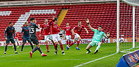 21st November 2020, Oakwell Stadium, Barnsley, Yorkshire, England; English Football League Championship Football, Barnsley FC versus Nottingham Forest; Joe Lolley of Nottingham Forrest has his shot saved in first half by Jack Walton of Barnsley