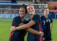 HOUSTON, TX - JUNE 13: Lynn Williams #6 and Kristie Mewis #22 of the USWNT pose for a photo after a game between Jamaica and USWNT at BBVA Stadium on June 13, 2021 in Houston, Texas.