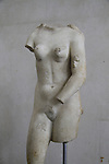 A statue of Aphrodite found at the Church of John the Baptist in Ein Karem, Jerusalem, roman period, 3rd century AD, marble, on display at the Rockefeller Museum