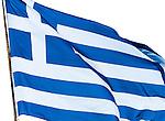 Greek flag on the island of Corfu, Greece