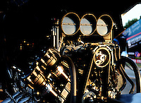 Jul, 8, 2011; Joliet, IL, USA: Detailed view of the engine of an NHRA funny car during qualifying for the Route 66 Nationals at Route 66 Raceway. Mandatory Credit: Mark J. Rebilas-
