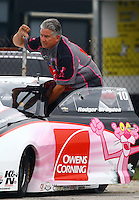 Aug 30, 2014; Clermont, IN, USA; NHRA pro stock driver Rodger Brogdon on the return road during qualifying for the US Nationals at Lucas Oil Raceway. Mandatory Credit: Mark J. Rebilas-USA TODAY Sports