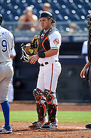 Peoria Javelinas Austin Wynns (21), of the Baltimore Orioles organization, during a game against the Surprise Saguaros on October 12, 2016 at Peoria Stadium in Peoria, Arizona.  The game ended in a 7-7 tie after eleven innings.  (Mike Janes/Four Seam Images)