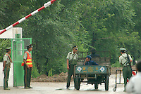 01-AUG-02: NORTH KOREAN BORDER: TUMEN, JILIN, CHINA<br /> A Chinese border police checkpoint near the Tumen <br /> Bridge.  All people in the area are subjected to the rigourous security crack-down in the area aimed at North Korean Refugees.