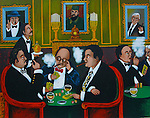 """""""Poker Night at the Club""""<br /> Limited Edition Lithograph Paper 19x24<br /> SN $800<br /> SN w/Original Watercolor Remarque $1,400<br /> All the cigar aficionados you could ever imagine play here!"""