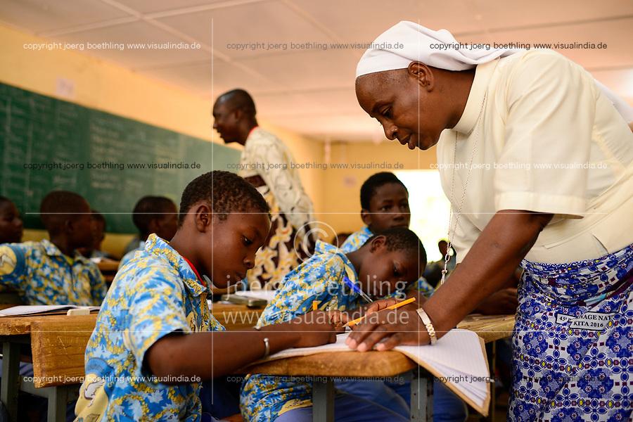 BURKINA FASO , Gaoua, catholic school, order sister / katholische Schule, Rektorin Sr. NATALIE DENA