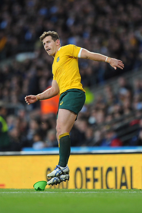 Bernard Foley of Australia watches his conversion attempt during the Semi Final of the Rugby World Cup 2015 between Argentina and Australia - 25/10/2015 - Twickenham Stadium, London<br /> Mandatory Credit: Rob Munro/Stewart Communications