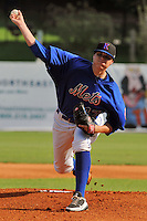 Kingsport Mets starting pitcher Corey Oswalt #47 delivers a pitch during a game against the Bristol White Sox at Hunter Wright Stadium on July 28, 2012 in Kingsport, Tennessee. The Mets defeated the White Sox 9-5. (Tony Farlow/Four Seam Images).