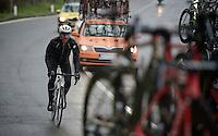 Fabian Cancellara (SUI/TREK Factory Racing) back 'en route' after a mechanical<br /> <br /> 106th Milano - San Remo 2015