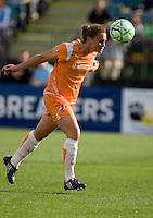 Christie Rampone heads the ball back to the goalie. FC Gold Pride defeated Sky Blue FC 1-0 at Buck Shaw Stadium in Santa Clara, California on May 3, 2009.