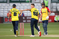 Brad Wheal of Hampshire celebrates taking the wicket of Will Buttleman during Essex Eagles vs Hampshire Hawks, Vitality Blast T20 Cricket at The Cloudfm County Ground on 11th June 2021