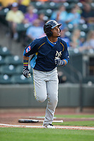 Eddy Martinez (51) of the Myrtle Beach Pelicans hustles down the first base line against the Winston-Salem Dash at BB&T Ballpark on May 11, 2017 in Winston-Salem, North Carolina.  The Pelicans defeated the Dash 9-7.  (Brian Westerholt/Four Seam Images)