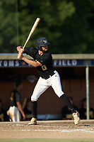 Parker Ledford (13) (Wingate University) of the Statesville Owls at bat against the High Point-Thomasville HiToms at Finch Field on July 19, 2020 in Thomasville, NC. The HiToms defeated the Owls 21-0. (Brian Westerholt/Four Seam Images)