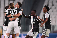 Cristiano Ronaldo of Juventus celebrates with Miralem Pjanic, Federico Bernardeschi, Blaise Matuidi and Juan Cuadrado after scoring the goal of 1-0 during the Serie A football match between Juventus FC and UC Sampdoria at Juventus stadium in Turin (Italy), July 26th, 2020. Play resumes behind closed doors following the outbreak of the coronavirus disease. <br /> Photo Federico Tardito / Insidefoto