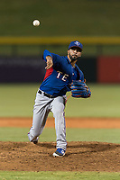 AZL Rangers relief pitcher Luis Rosario (76) delivers a pitch during an Arizona League playoff game against the AZL Cubs 1 at Sloan Park on August 29, 2018 in Mesa, Arizona. The AZL Cubs 1 defeated the AZL Rangers 8-7. (Zachary Lucy/Four Seam Images)