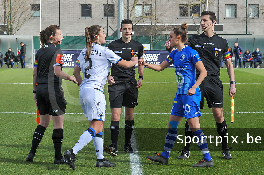 assistant referee Joline Delcroix , Ellen Martens (2) of Club Bruggex , referee Bert Verbeke , Chloe Vande Velde (10) of AA Gent , assistant referee Glenn Lakiere pictured during a female soccer game between  AA Gent Ladies and Club Brugge YLA on the 16th matchday of the 2020 - 2021 season of Belgian Scooore Womens Super League , saturday 13 th of March 2020  in Oostakker , Belgium . PHOTO SPORTPIX.BE | SPP | STIJN AUDOOREN