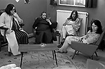 Charing Cross Hospital London 1970s womens ward, a group of women in their dressing gowns watching television England 1972