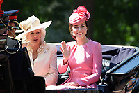 Camilla Duchess of Corwall and Catherine Duchess of Cambridge<br /> during Trooping the Colour on The Mall, London. <br /> <br /> <br /> ©Ash Knotek  D3283  17/06/2017
