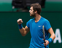 Rotterdam, The Netherlands, 3 march  2021, ABNAMRO World Tennis Tournament, Ahoy, Karen Khachanov (RUS) wins and jubilates<br /> Photo: www.tennisimages.com/henkkoster