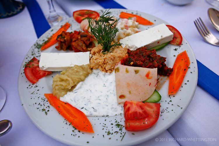 A traditional Turkish salad is beautifully presented at a Turkish restaurant in Istanbul.