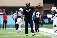 CHAPEL HILL, NC - OCTOBER 10: North Carolina Cornerbacks Coach Dre Bly watches a reply on the video board during a game between Virginia Tech and North Carolina at Kenan Memorial Stadium on October 10, 2020 in Chapel Hill, North Carolina.