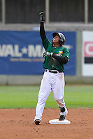 Martin Peguero #7 of the Clinton LumberKings celebrates after hitting a double against the Kane County Cougars at Ashford University Field on July 6, 2014 in Clinton, Iowa. The LumberKings won 1-0.   (Dennis Hubbard/Four Seam Images)
