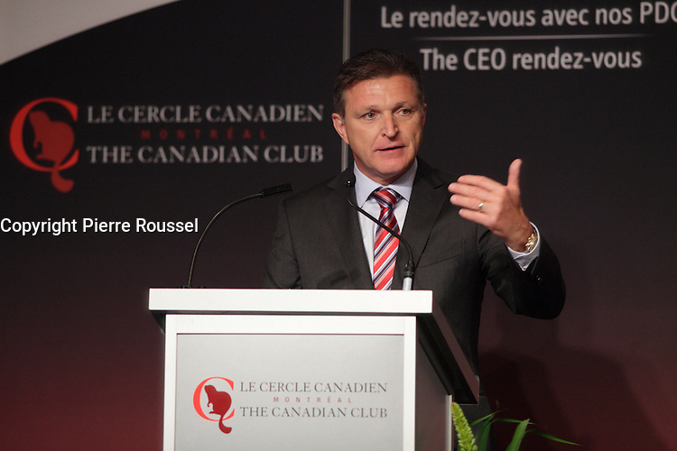 Marc Parent, President & CEO of CAE Inc deliver a speech to the Canadian Club of Montreal<br /><br /> Photo : Agence Quebec Presse - Pierre Roussel