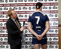 Mark Ramsdale interviews the team captains during the Pcubed Rugby League Varsity game between Oxford and Cambridge University at the HAC Ground, London, on Fri March 3, 2017