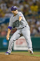TCU's Caleb Merck in Game 6 of the NCAA Division One Men's College World Series on Monday June 21st, 2010 at Johnny Rosenblatt Stadium in Omaha, Nebraska.  (Photo by Andrew Woolley / Four Seam Images)