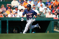 Minnesota Twins left fielder Darin Mastroianni (21) running the bases during a Spring Training game against the Baltimore Orioles on March 7, 2016 at Ed Smith Stadium in Sarasota, Florida.  Minnesota defeated Baltimore 3-0.  (Mike Janes/Four Seam Images)