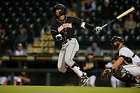 Jupiter Hammerheads Victor Victor Mesa (32) bats during a Florida State League game against the Bradenton Marauders on April 19, 2019 at LECOM Park in Bradenton, Florida.  Bradenton defeated Jupiter 7-1.  (Mike Janes/Four Seam Images)