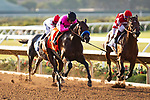 DEL MAR,CA-SEPTEMBER 03: Game Winner #7,ridden by Mario Gutierrez, wins the Del Mar Futurity at Del Mar Race Track on September 3,2018 in Del Mar,California (Photo by Kaz Ishida/Eclipse Sportswire/Getty Images)