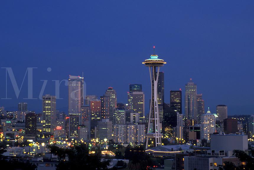 AJ3673, Seattle, skyline, space needle, Washington, Downtown skyline of Seattle at night in the state of Washington.